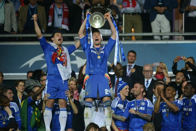 Gary Cahill lifts the European Cup after Chelsea's 2012 Champions League triumph
