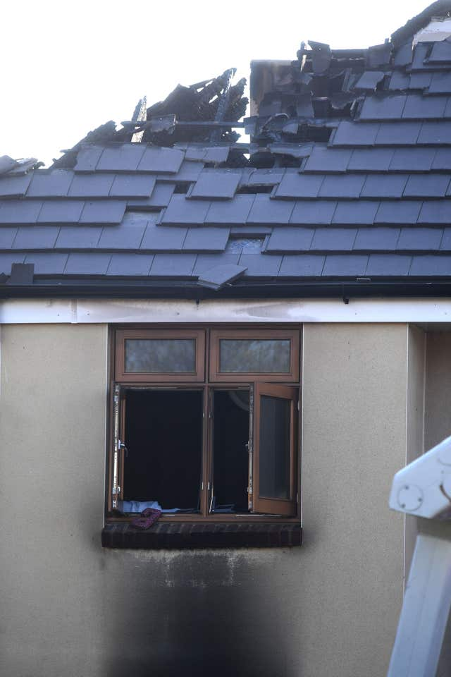Damage to the roof and window at the care home in Chingford following the fire (Victoria Jones/PA)