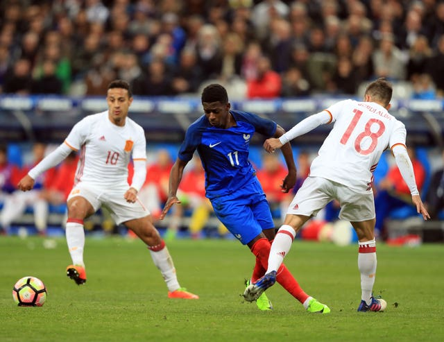 France's Ousmane Dembele, centre, was in fine form for Barcelona at the weekend