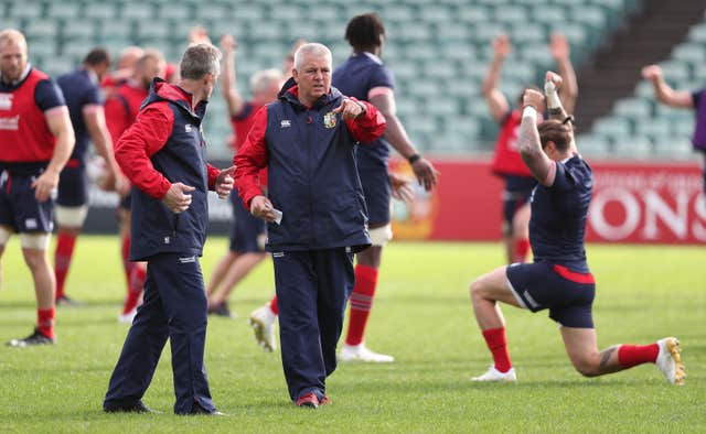 Warren Gatland, centre, issues instructions in a Lions training session