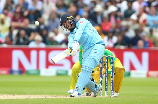 Roy clubs another six during England's World Cup semi-final against Australia at Edgbaston