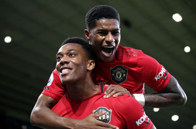Anthony Martial, left, and Marcus Rashford are both unlikely to feature against Arsenal (Nick Potts/PA)