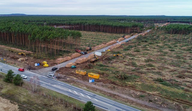 The already partly cleared forest area on the future site of the planned Tesla factory near Gruenheide, Germany