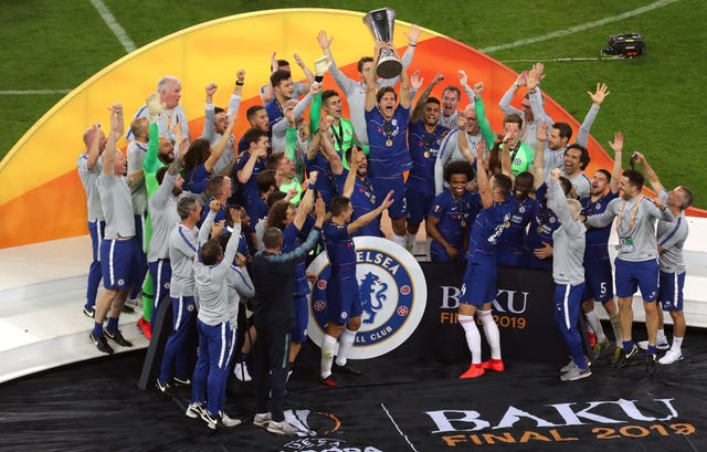 Chelsea's players savour their Europa League final win against Arsenal in Azerbaijan