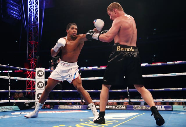 Anthony Joshua opened up a cut above Alexander Povetkin's eye