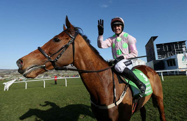 Faugheen and Ruby Walsh after winning the 2015 Champion Hurdle