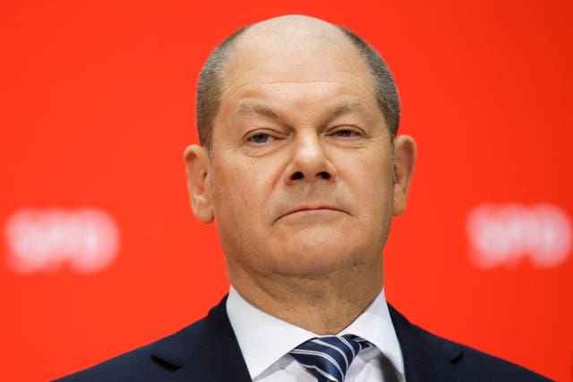 New German Finance Minister Olaf Scholz attending a press conference in Berlin (AP Photo/Markus Schreiber)