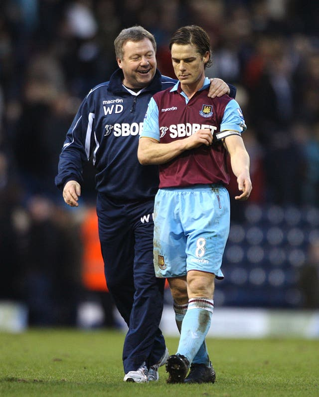 Wally Downes (left), while working as West Ham's defensive coach, with Scott Parker.