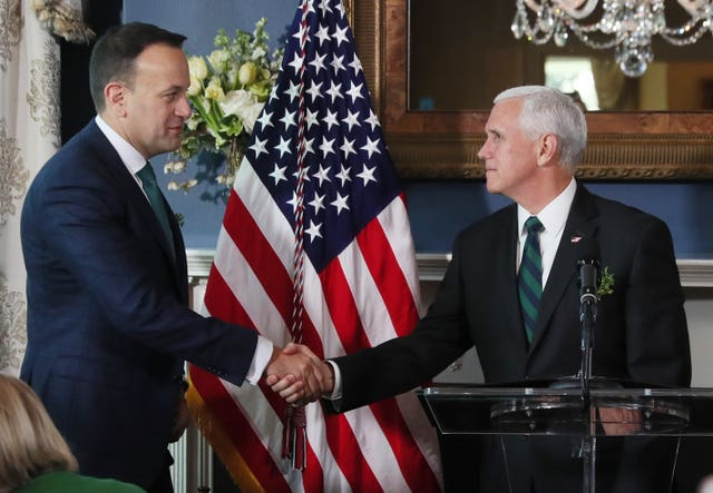 Mr Varadkar shakes hands with Mike Pence