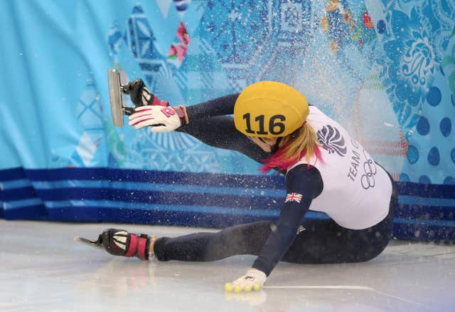 Great Britain's Elise Christie crashes out of an event at the 2014 Sochi Olympic Games