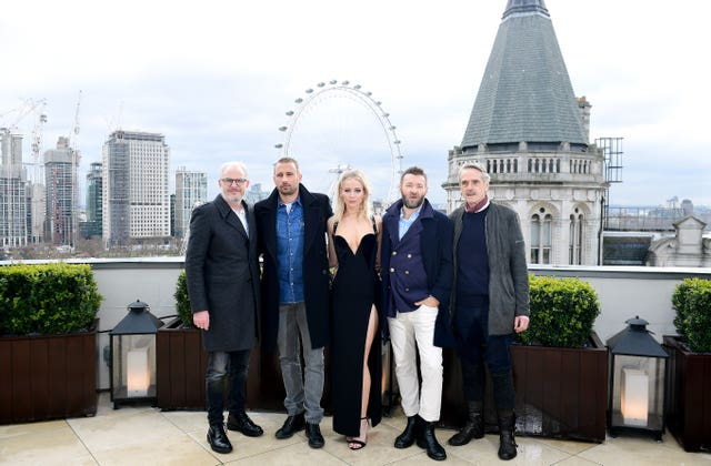Director Francis Lawrence, with from left,  Matthias Schoenaerts, Jennifer Lawrence, Joel Edgerton,  and Jeremy Irons at the Red Sparrow photocall (Ian West/PA)