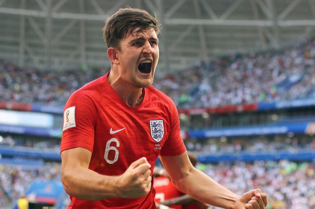 Harry Maguire scored England's first goal in the 2-0 quarter-final victory against Sweden (Owen Humphreys/PA).