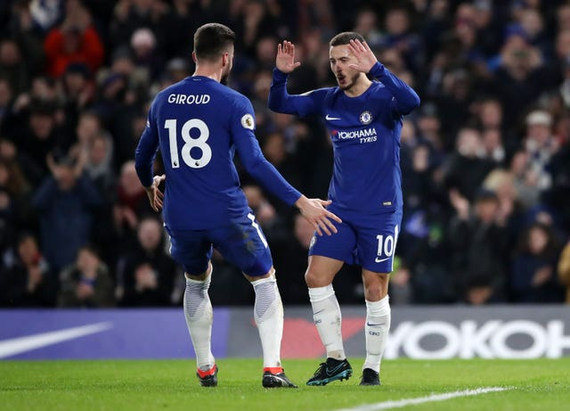 Olivier Giroud, left, and Eden Hazard are two of Chelsea's striking options