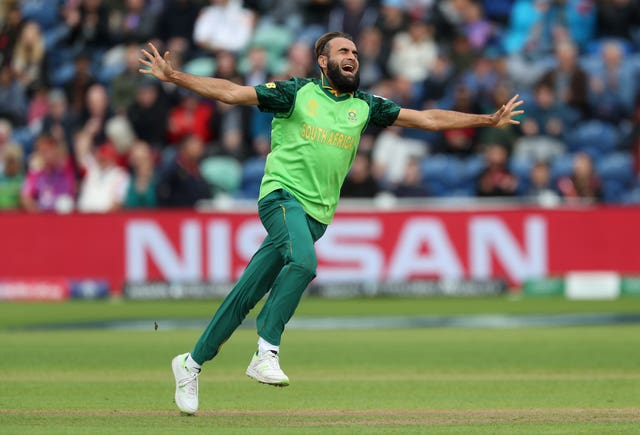 Imran Tahir celebrates taking a wicket against Afghanistan as South Africa won by nine wickets