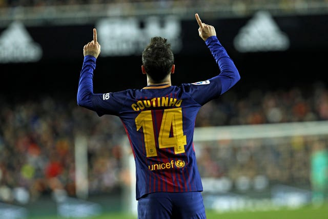 Coutinho was making his fifth Barcelona appearance since joining from Liverpool (Alberto Saiz/AP)