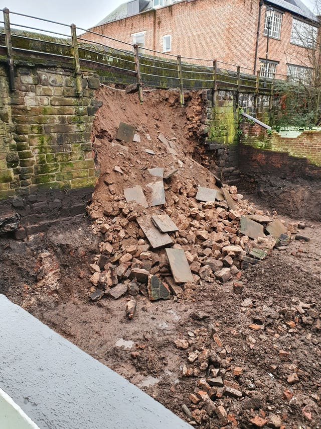 Chester's ancient walls collapsed on Thursday night
