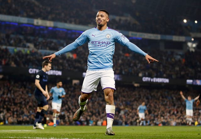 Gabriel Jesus celebrates scoring his second goal