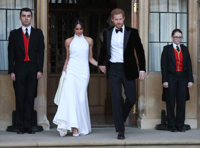 The Duchess of Sussex leaving Windsor Castle in her Stella McCartney dress