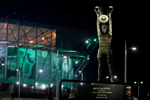 A view of the Billy McNeill statue before a Champions League game against Barcelona
