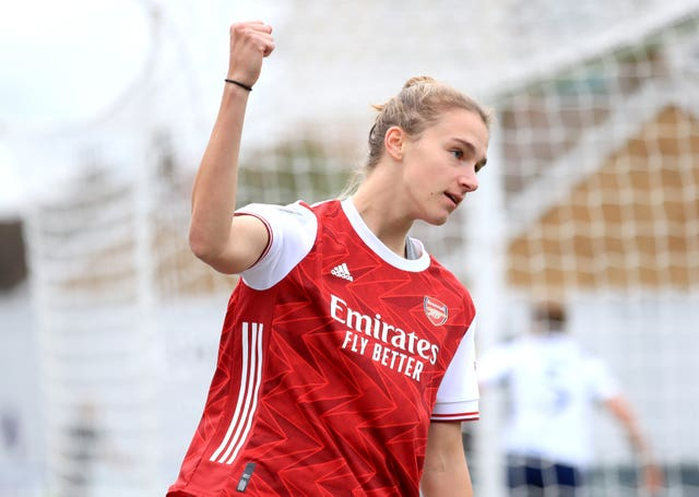 Vivianne Miedema celebrates scoring against Tottenham