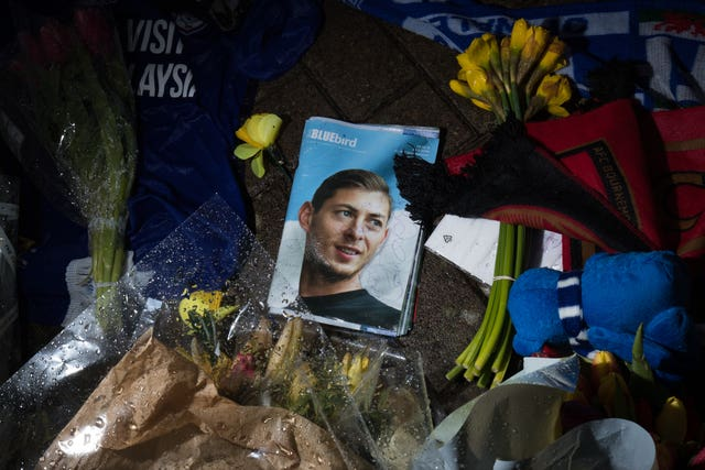 A tribute at Cardiff's  Stadium for Emiliano Sala (PA)