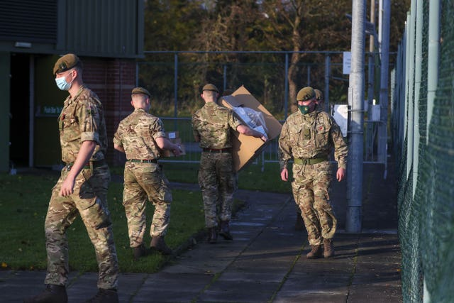 Soldiers set up at the Liverpool Tennis Centre