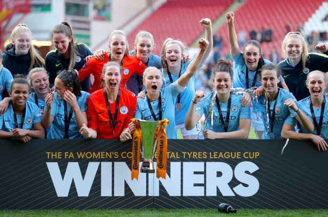 Houghton won the League Cup with City in February, and helped England claim the SheBeleives Cup this month (Richard Sellers/PA).