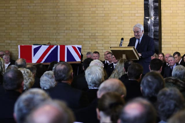 Dr Richard Page giving the eulogy during Surgeon Captain Rick Jolly's funeral service (LPhot Ken Gaunt/Royal Navy/MoD/Crown copyright/PA)