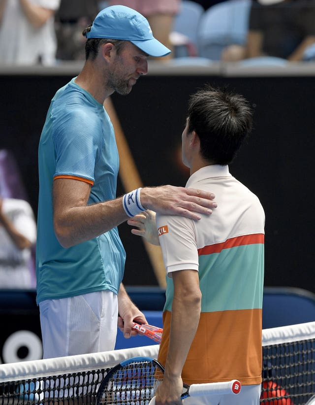 Forty-year-old Ivo Karlovic took Kei Nishikori (right) to five sets (Andy Brownbill/AP).