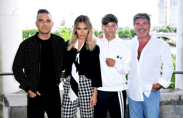 Last year's X Factor judging panel, Robbie Williams, Ayda Field, Louis Tomlinson and Simon Cowell