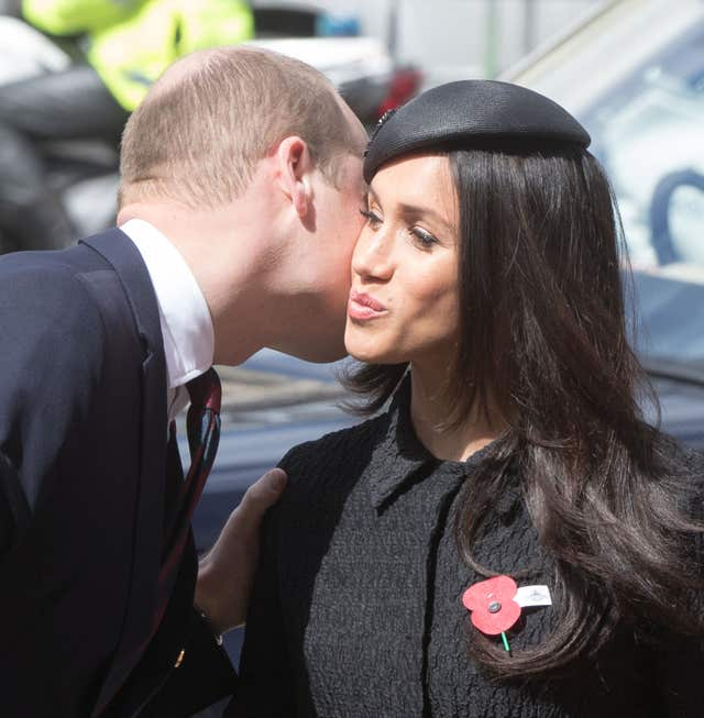 The Duke of Cambridge greets Ms Markle (Jonathan Brady/PA)