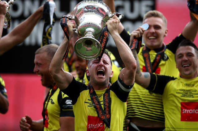 Harrogate celebrate their promotion to the EFL via the National League play-offs