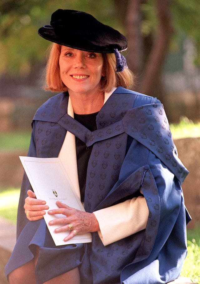 Dame Diana Rigg after she was presented with an honorary degree from the South Bank University at Southwark Cathedral in London