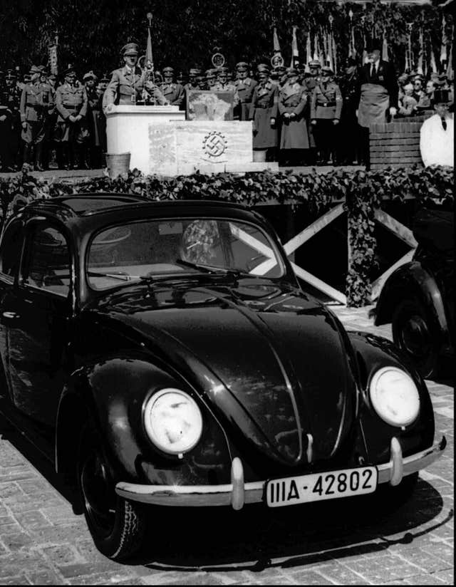 German Nazi leader Adolf Hitler speaks at the opening ceremony of the Volkswagen car factory in Fallersleben, Lower Saxony, Germany, in 1938