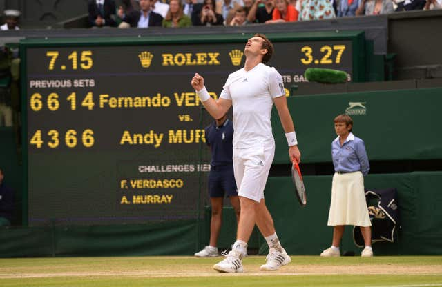 Andy Murray celebrated a memorable triumph over Fernando Verdasco on his way to winning Wimbledon in 2013