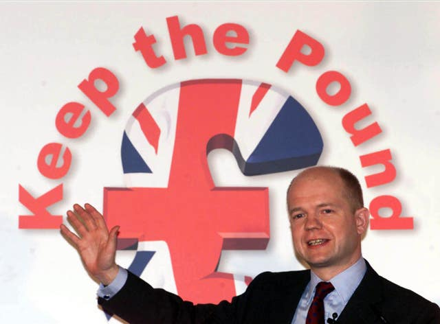 William Hague led a countrywide campaign agisnt the euro (Sean Dempsey/PA)