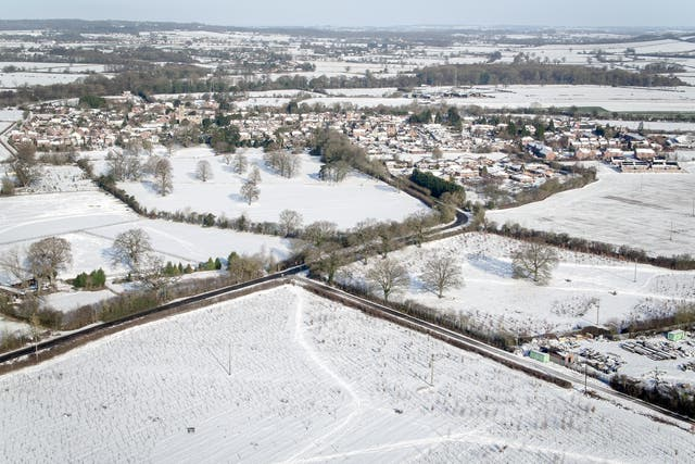 Snow-covered fields