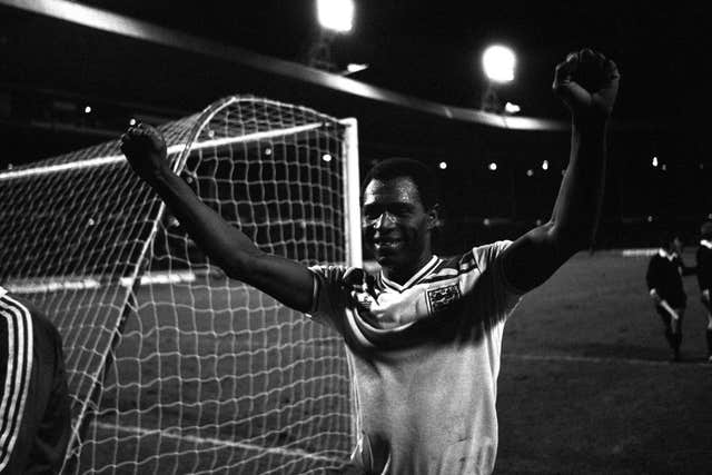 Luther Blissett celebrates his hat-trick at Wembley (PA)