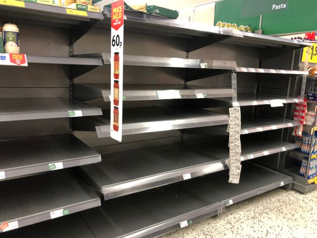 Empty shelves at a Morrisons supermarket in Whitley Bay in the North East