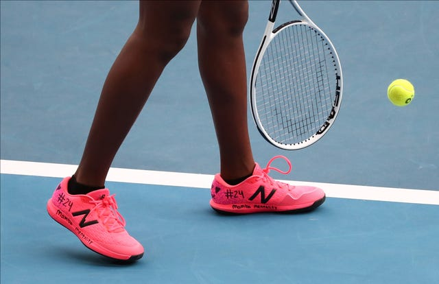 Tennis player Coco Gauff had a tribute on her trainers at the Australian Open