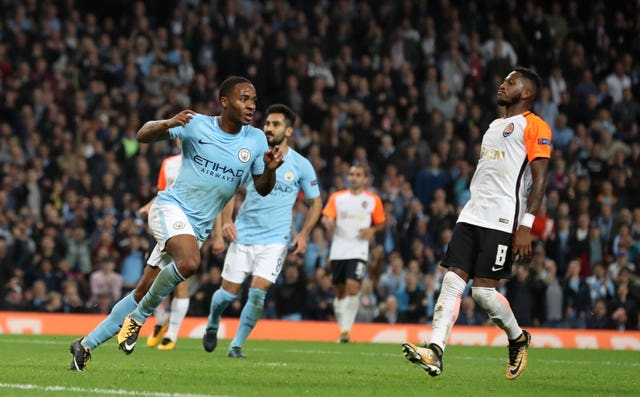 Raheem Sterling celebrates scoring against Shakhtar last season