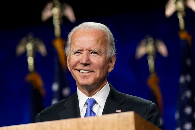 Democratic presidential candidate Joe Biden at the Democratic National Convention in Wilmington, Delaware
