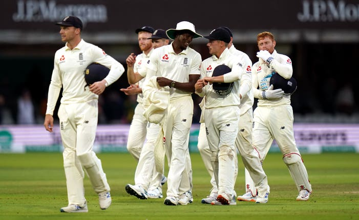 England walk off the Lord's pitch after the second Ashes Test ended in a draw
