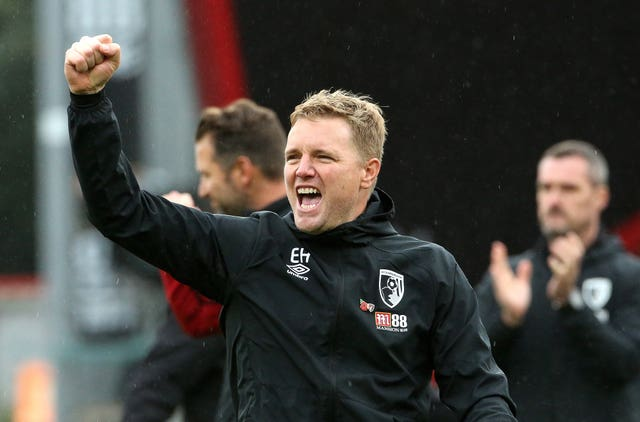 Bournemouth manager Eddie Howe celebrates after the final whistle