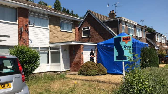 A blue tent was erected outside Lucy Letby's home