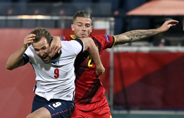 Tottenham team-mates Harry Kane and Toby Alderweireld fight for the ball