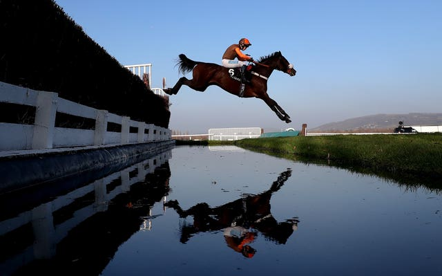 Theatre Territory flies over the water jump at Cheltenham