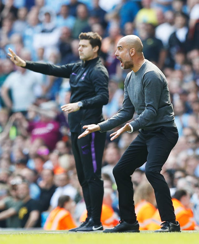 Mauricio Pochettino (left) says Saturday's match should not be seen as a battle between himself and Pep Guardiola