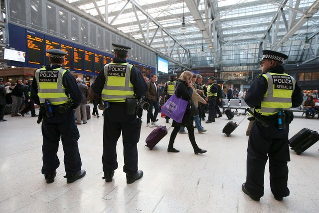 British Transport Police at Glasgow Central station (Andrew Milligan/PA)