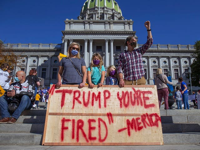 Joe Biden supporters demonstrate in front of the Pennsylvania State Capitol in Harrisburg